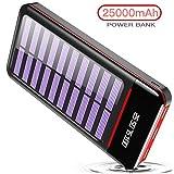 RLERON Powerbank Solar Tragbares Ladegerät 25000mAh Solarladegeräte mit Dual Eingangsports und 3...