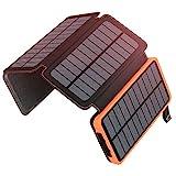 ADDTOP Solar Powerbank 25000mAh, Tragbare Solar Ladegerät mit 4 Solarpanels,Outdoor wasserfester...