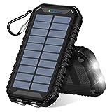 ADDTOP Solar Powerbank 15000mAh Tragbare Solar Ladegerät mit 2-Port 4,8 A Output Wasserdicht...