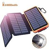Powerbank Solar Externer Akku 24000mAh Solar Ladegerät mit 3 Solar Panels Dual USB 2.1A,...