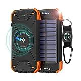 BLAVOR Wireless Power Bank Solar Ladegerät,10000mAh Externer Akku,Tragbare Notfall-Energie mit...