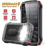 Solar PowerBank 26800mAh QI Wireless Solarladegerät Schnelles Aufladen Externer Akku Tragbare 4...