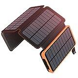 A ADDTOP Solar Powerbank 25000mAh Tragbare Solar Ladegerät mit 4 Solarpanels, Outdoor wasserfester...