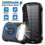 Powerbank Solar 26800mAh QI Wireless Solar Ladegerät mit 3 Eingangswege und 4 Geräte Ausgängen...