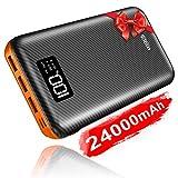 KEDRON Powerbank 24000mAh Externer Akku mit USB C&Micro 2 Eingänge und 3 Ausgänge Power Bank Handy...