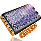 KEDRON Externer Akku 24000mAh Solar Powerbank, Solar Ladegerät mit 3 Ausgänge und Lighting & Micro...
