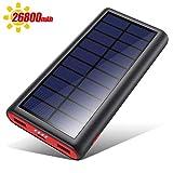 VOOE Solar Powerbank 26800mAh Externer Akku, Solar Ladegerät mit 2 Ausgänge, Solar Power Bank mit...