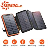 Solar PowerBank 26800mAh, Solar Ladegerät mit 4 Sonnenkollektoren, Taschenlampe, Zwei 5V / 2.1A...