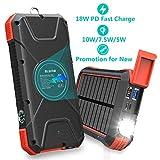 BLAVOR Schnelle Power Bank 20000mAh, induktives Laden 10W/7.5W&18W Quick Charge 3.0,Solar Ladegerät...