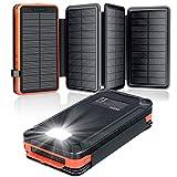 Solar Powerbank 26800mAh, elzle Solar Ladegerät mit 2 USB-Ausgangsport & 1 USB-Eingangsport,...