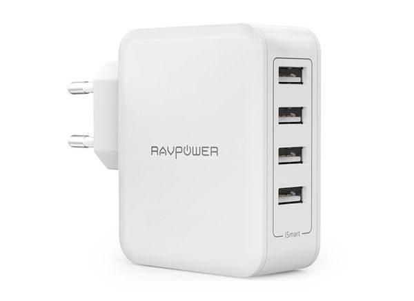 RAVPower USB Ladegerät 4-Port 40W AC Wandladegerät mit iSmart Technologie