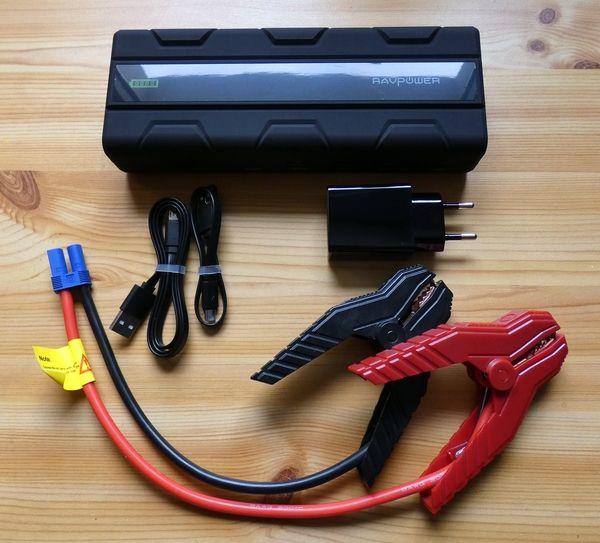 RAVPower RP-PB063 Powerbank für Auto-Starthilfe Lieferumfang ausgepackt